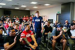 Jack Tovey looks on as the Bristol Bears squad gather to make presentations to departing players after the Bristol Bears Team Run ahead of the Sale Sharks Game - Rogan/JMP - 02/05/2019 - RUGBY UNION - Ashton Gate Stadium - Bristol, England - Bristol Bears v Sale Sharks - Gallagher Premiership Rugby.