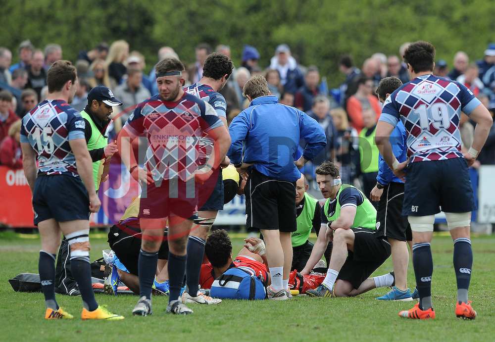 Bristol Rugby Flanker Marco Mama receives treatment - Photo mandatory by-line: Dougie Allward/JMP - Mobile: 07966 386802 - 10/05/2015 - SPORT - Rugby - Sheffield - Abbeydale Dale Sports - Rotherham Titans v Bristol Rugby - Greene King IPA Championship
