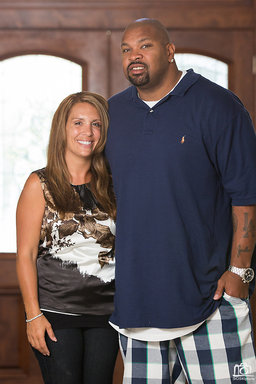 ***Photo Requested by Clarence E. Hill, Jr.***<br /> <br /> Former Dallas Cowboys guard Larry Allen, Jr. poses for a portrait with his wife Janelle at their home in Danville, California, on June 27, 2013.  Allen will be inducted into the NFL Hall of Fame during the Enshrinement Ceremony at Fawcett Stadium in Canton, Ohio, on August 2, 2013. (Stan Olszewski for Fort Worth Star-Telegram)