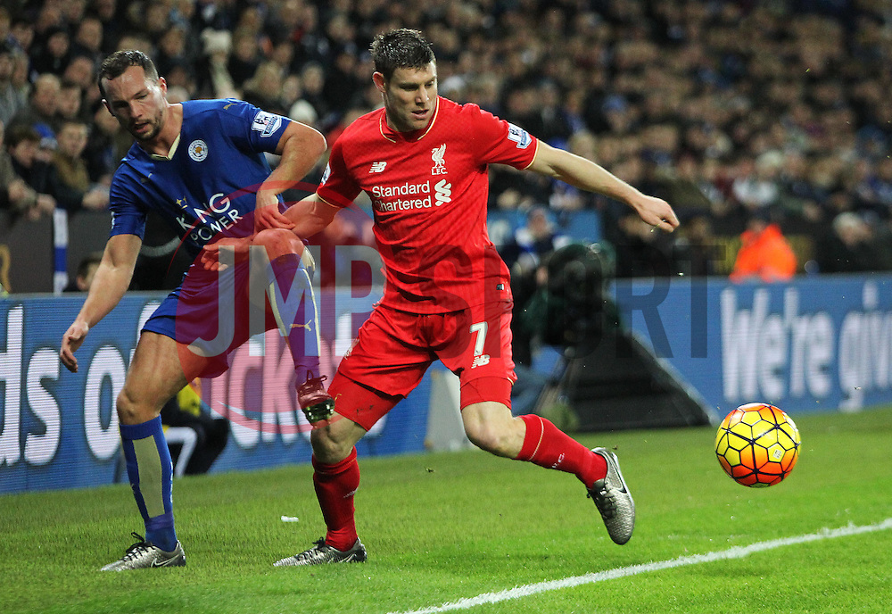 James Milner of Liverpool and Danny Drinkwater of Leicester City (L) in action - Mandatory byline: Jack Phillips/JMP - 02/02/2016 - FOOTBALL - King Power Stadium - Leicester, England - Leicester City v Liverpool - Barclays Premier League