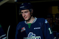KELOWNA, CANADA - FEBRUARY 23:  Noah Philp #16 of the Seattle Thunderbirds enters the ice for warm up against the Kelowna Rockets on February 23, 2018 at Prospera Place in Kelowna, British Columbia, Canada.  (Photo by Marissa Baecker/Shoot the Breeze)  *** Local Caption ***