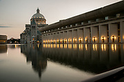 This is the Reflecting Pool and the Christian Science Church during  the 2014 annual meeting of the American Bar Association at the Hynes Convention Center in Boston. © Kathy Anderson