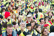Entitled 'Hi- Five 4 Hi Vis'  A Guinness World Record for the greatest number of people wearing high visibility vests in any one place took  place in Oranmore town centre at the all weather pitch The event was supported by the Garda Siochana and the Road Safety Authority..At the event were hundreds of highly visible locals.  Picture :Andrew Downes.