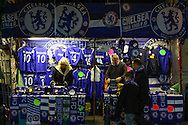 Chelsea merchandise for sale ahead of the match against Sporting Clube de Portugal before the UEFA Champions League match at Stamford Bridge, London<br /> Picture by David Horn/Focus Images Ltd +44 7545 970036<br /> 10/12/2014