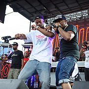 WASHINGTON, DC - August 17th, 2013 -  Rapper Casey Veggies (left) and R&B singer Raheem DeVaughn (right) perform at the 2013 Trillectro Festival at the Half Street Fairgrounds in Washington, D.C.  (Photo by Kyle Gustafson / For The Washington Post)