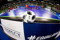 Official ball during futsal match between Portugal and Azerbaijan in Quaterfinals of UEFA Futsal EURO 2018, on February 6, 2018 in Arena Stozice, Ljubljana, Slovenia. Photo by Ziga Zupan / Sportida