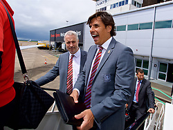 CARDIFF, WALES - Saturday, June 10, 2017: Wales' manager Chris Coleman and coach Kit Symons board the team plane as the squad depart Cardiff Tesla Airport to travel to Belgrade ahead of the 2018 FIFA World Cup Qualifying Group D match against Serbia. (Pic by David Rawcliffe/Propaganda)