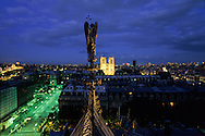 France. Paris. 1st district. Elevated view.  The Cathedral notre dame and the angel of the  Sainte Chapelle. view from the Sainte Chapelle