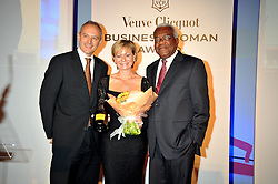 Left to right, GRAHAM BOYES, HARRIET GREEN and SIR TREVOR MACDONALD at the presentation of the Veuve Clicquot Business Woman Award 2009 hosted by Graham Boyes MD Moet Hennessy UK and presented by Sir Trevor Macdonald at The Saatchi Gallery, Duke of York's Square, Kings Road, London SW1 on 28th April 2009.