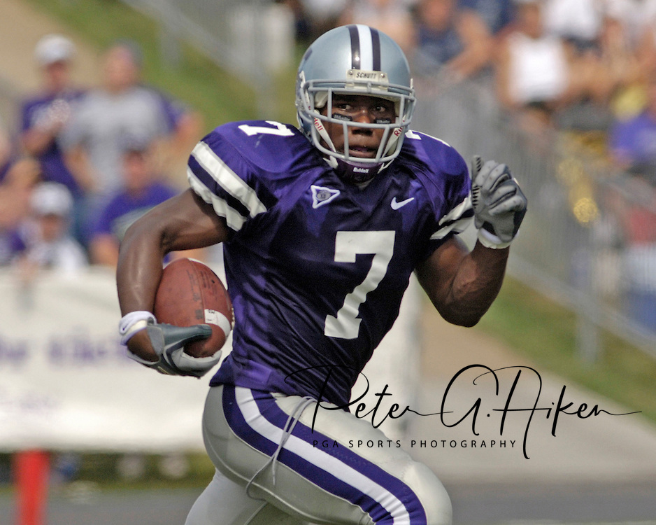 Kansas State running back Parrish Fisher (7) rushed through the North Texas defense for 169-yards on 21 carries, as the Wildcats defeated the Mean Green of North Texas 54-7 at KSU Stadium in Manhattan, Kansas on September 24, 2005.