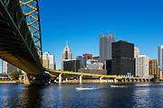 City skyline and Fort Pitt Bridge, Pittsburgh, Pennsylvania, USA.