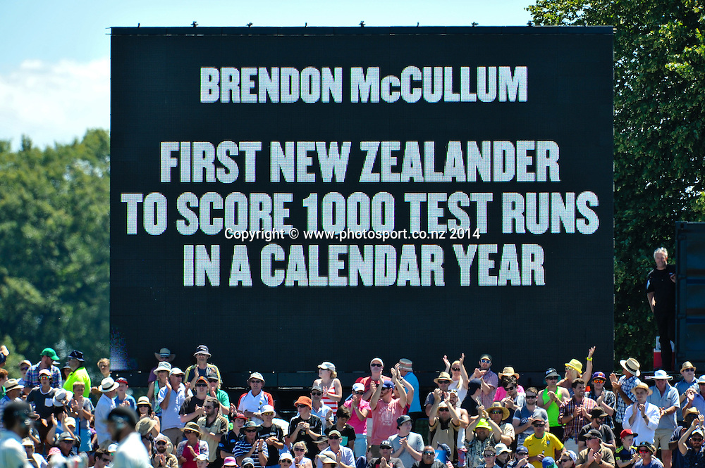Brendon McCullum of the Black Caps scores lots of run in a year in the 1st day of the cricket test match, NZ v Sri Lanka, Hagley Oval, 26 December 2014. Photo:John Davidson/www.photosport.co.nz
