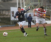 Peter MacDonald goes past Martin Canning - Dundee v Hamilton, SPFL Championship at <br /> Dens Park<br /> <br />  - &copy; David Young - www.davidyoungphoto.co.uk - email: davidyoungphoto@gmail.com