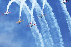 The Harvards of New Zealand's Roaring Forties display team as the pilots' show their aerobatic skills at the Tauranga City Airshow, Tauranga, New Zealand, Saturday, January 20,  2018. Credit:SNPA / Richard Moore **NO ARCHINVING**