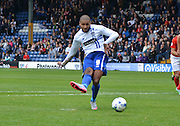 Bury Striker Leon Clarke scores a goal from the penalty spot during the Sky Bet League 1 match between Bury and Coventry City at Gigg Lane, Bury, England on 26 September 2015. Photo by Mark Pollitt.