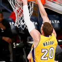 15 November 2016: Los Angeles Lakers center Timofey Mozgov (20) dunks the ball during the LA Lakers 125-118 victory over the Brooklyn Nets, at the Staples Center, Los Angeles, California, USA.
