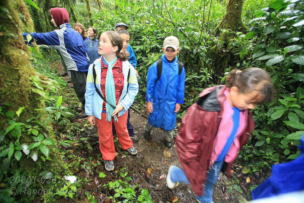 Cloud Forest School students join Ecoteach nature hike in rainforest of Santa Elena National Park, Costa Rica.