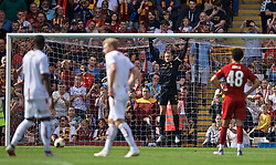 BRADFORD, ENGLAND - Saturday, July 13, 2019: Liverpool's goalkeeper Simon Mignolet prepares to face a penalty during a pre-season friendly match between Bradford City AFC and Liverpool FC at Valley Parade. (Pic by David Rawcliffe/Propaganda)
