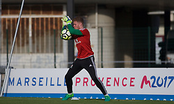 AUBAGNE, FRANCE - Tuesday, May 30, 2017: Wales' goalkeeper Luke Pilling warms-up ahead of the Toulon Tournament Group B match between Wales and France at the Stade de Lattre-de-Tassigny. (Pic by Laura Malkin/Propaganda)