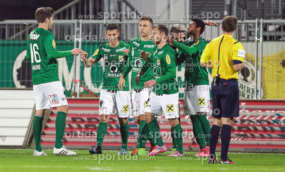 16.10.2015, Reichshofstadion, Lustenau, AUT, 2. FBL, SC Austria Lustenau vs FAC Wien 13. Runde, im Bild Torjubel bei SC Austria Lustenau// during Austrian Second Bundesliga Football Match, 13th round, between SC Austria Lustenau vs FAC Wien at the Reichshofstadion, Lustenau, Austria on 2015/10/16. EXPA Pictures © 2015, PhotoCredit: EXPA/ Peter Rinderer
