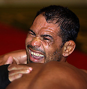 "UFC fighter  ""Minotauro"" Nogueira spars hard with Anderson Silva during a short workout session at the Portland Marriott Downtown Hotel. Afterwards he gave an interview to members of the media and feels he ready for Randy Couture."