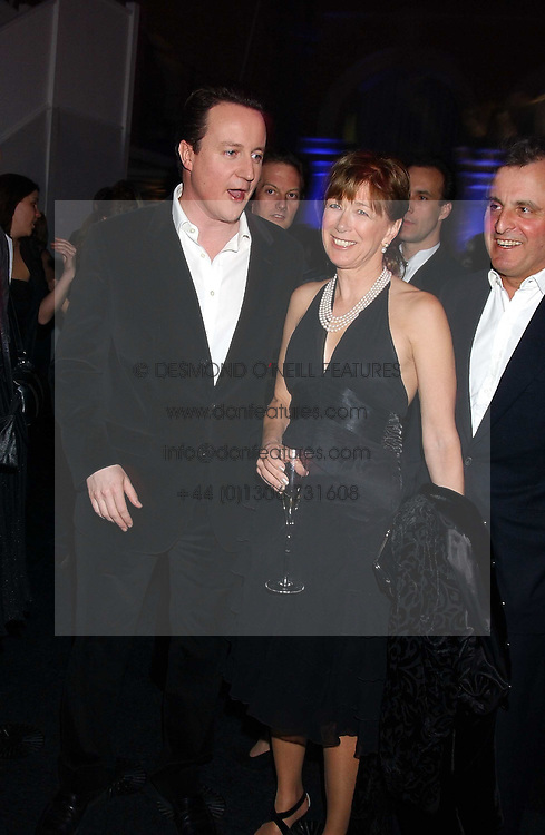 Leader of the Conservative Party DAVID CAMERON MP and his mother in law VISCOUNTESS ASTOR at the Conservative Party's Black &amp; White Ball held at Old Billingsgate, 16 Lower Thames Street, London EC3 on 8th February 2006.<br />