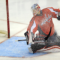 01 January 2009:  Washington Capitals goalie Brent Johnson (1) gives up a goal to left wing Ryan Malone tin the 2nd period at the Verizon Center in Washington, D.C.  The Capitals defeated the Lightning 7-4.