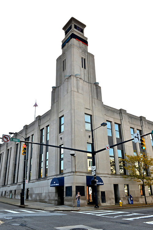 Exterior of the Akron Beacon Journal building.