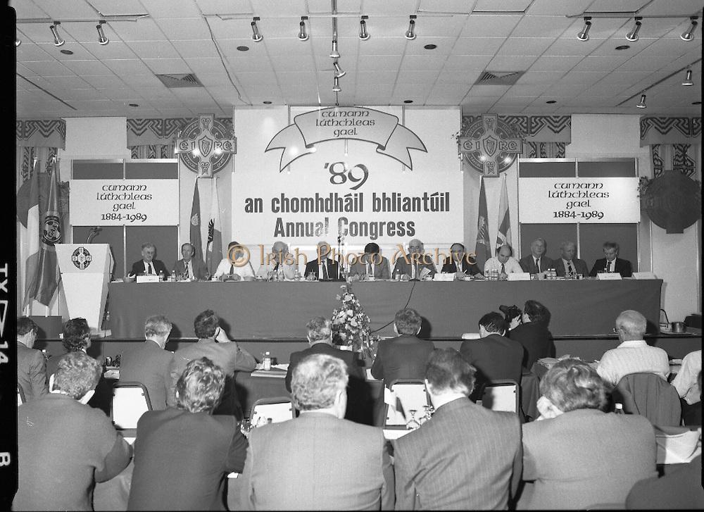 GAA Annual Congress At Malahide.   (R99)..1989..01.04.1989..04.01.1989..1st April 1989..The annual GAA Congress was held this week at the Grand Hotel, Malahide,Dublin. The congress sets out GAA policy for the coming year...Image shows the GAA Congress committee at the top table; (L-R); P O Tiernaigh, Financial Manager, GAA; Ciaran O'Neill, Commercial Manager,GAA;. S Mac Domhnaill, Trustee; S Boothman, Chairman,Leinster Branch; M O'Conchuir,Outgoing Chairman,Munster Council; L O'Maolmhichil, Ard Stiurthoir; S O'Dubhlann, Uachtarán; Dr M O'Lochlainn, Past President; P O'Cuinn,Outgoing Chairman,Ulster Council; S O'Tuathaill, Connacht Chairman; B O'Cathail and P O'Cionnaith, Trustee.
