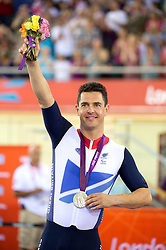 GB's Mark Colbourne with his silver medal for the Individual Time Trial in the Velodrome at the London 2012 Paralympics,  Thursday, 30th August 2012. Photo by: i-Images
