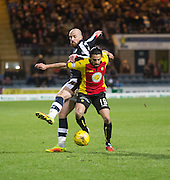 Dundee&rsquo;s James Vincent tackles Partick Thistle's Ryan Edwards - Dundee v Partick Thistle in the Ladbrokes Scottish Premiership at Dens Park, Dundee.Photo: David Young<br /> <br />  - &copy; David Young - www.davidyoungphoto.co.uk - email: davidyoungphoto@gmail.com