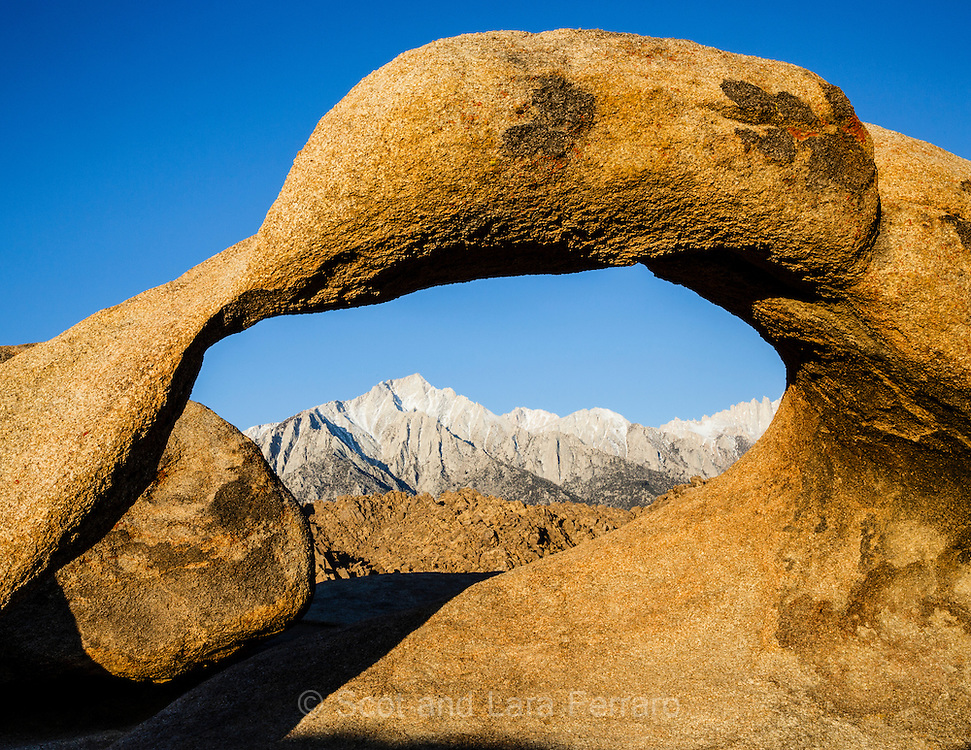 Mount Whitney seen through Mobius Arch in the Alabama Hills, California
