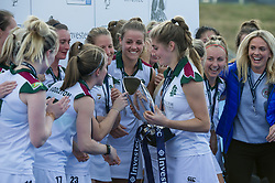 Surbiton's Sarah Haycroft holds the trophy. Holcombe v Surbiton - Investec Women's Hockey League Final, Lee Valley Hockey & Tennis Centre, London, UK on 23 April 2017. Photo: Simon Parker