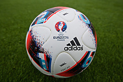 DINARD, FRANCE - Thursday, June 23, 2016: The new Adidas Beau Jeu Euro 2016 match ball for the Round of 16, used by Wales during a training session at their base in Dinard as they prepare for the Round of 16 match against Northern Ireland during the UEFA Euro 2016 Championship. (Pic by David Rawcliffe/Propaganda)
