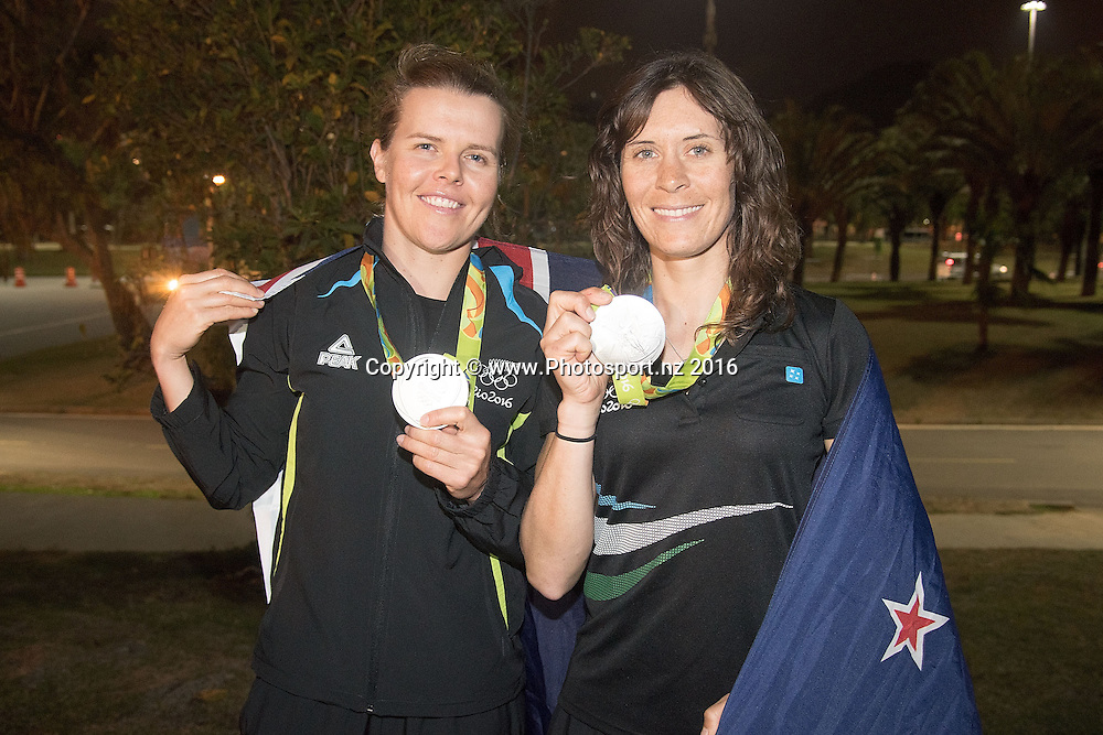 New Zealand's Jo Aleh and Polly Powrie celebrate winning Silver for the 470 class sailing race the 2016 Rio Olympics on Thursday the 18th of August 2016. © Copyright Photo by Marty Melville / www.Photosport.nz