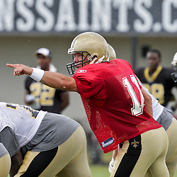 10 August 2009: New Orleans Saints quarterback Mark Brunell (11) calls an audible on a team drill during New Orleans Saints training camp at the team's practice facility in Metairie, Louisiana.