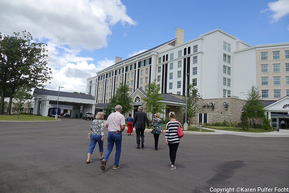 Guests are shown walking into a Memphis hotel that health officials are investigating a Legionnaires' disease outbreak at the Guest House At Graceland, a new hotel that recently opened next to Elvis' Graceland estate. Reports claim three people have fallen ill after staying at the Graceland hotel in Memphis, Tennessee. The photo was made on June 22nd, 2017.