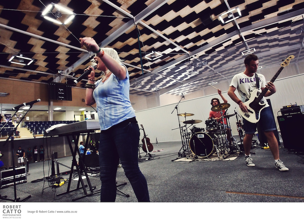 The Esther Melody Band perform at Te Rauparaha Arena in Porirua New Zealand.