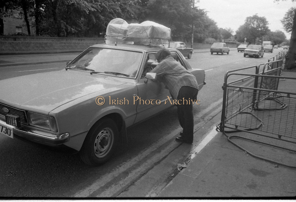 H-Block Protest To British Embassy.  (N86)..1981..18.07.1981..07.18.1981..18th July 1981..A protest march to demonstrate against the H-Blocks in Northern Ireland was held today in Dublin. After the death of several hunger strikers in the H-Blocks feelings were running very high. The protest march was to proceed to the British Embassy in Ballsbridge...Image shows Bernadette McAlliskey discussing her protest with a passing motorist.