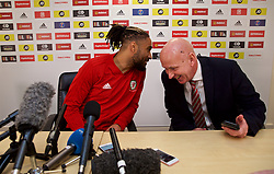 CARDIFF, WALES - Thursday, November 15, 2018: Wales' captain Ashley Williams (L) and head of public affairs Ian Gwyn Hughes during a press conference at the Cardiff City Stadium ahead of the UEFA Nations League Group Stage League B Group 4 match between Wales and Denmark. (Pic by David Rawcliffe/Propaganda)