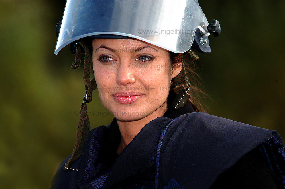 Angelina Jolie 2003 for the Independent Angelina Jolie,adopt a landmine charity, campaign to ban landmines,