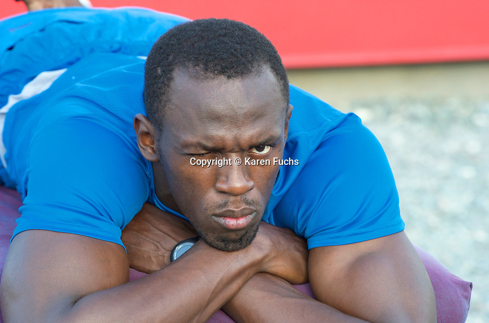 Usain Bolt on physio couch at track in Kingston Jamaica March'11