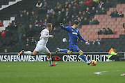 AFC Wimbledon midfielder Jake Reeves (8) shoots at goal during the EFL Sky Bet League 1 match between Milton Keynes Dons and AFC Wimbledon at Stadium MK, Milton Keynes, England on 10 December 2016. Photo by Stuart Butcher.