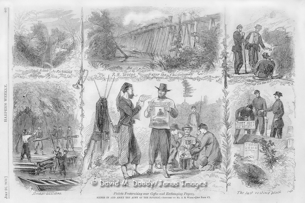"Civil War: Virginia SCENES IN AND ABOUT THE ARMY OF THE POTOMAC.--SKETCHED BY MR. A. R. WAUD.--[SEE PAGE 471.]. Harper's Weekly  July 26, 1862  Page 469   SCENES OF CAMP LIFE..before the late movement from the Chickahominy to the James River. Mr. Waud writes:..""No. 1 represents the Railroad from West Point to Richmond, at or about the locality where it leaves our lines, some six miles from the city. It is a single track road, but it is an immense convenience to the army in transporting the large supplies necessary for such an enormous body of men. The scenery, without being at all striking, is very picturesque along the road, the wild camps of our soldiers adding a great deal of interest to it. Once or twice a rebel locomotive has made its appearance on the track, skedaddling very quick when our guns opened on it...""No. 2 is the Trestle-work over the Chickahominy Swamp, about seven hundred yards in breadth at this point...""No. 3 is a sketch of Sick and Wounded Soldiers on their way to the White House, refreshing themselves at a pure spring of water by the side of the railroad while waiting for the cars...""No. 4 gives a good idea of the pleasures of bridge-building in the swamp, where the atmosphere is very close, and it is necessary for some of the builders to stand up to their middle in water, while others cut and carry the logs to construct the bridge with...""No. 5. Along some parts of the line quite a good feeling exists among the pickets. By mutual consent they do not fire, and the rebels leave their arms and join our men in a cup of coffee, exchanging Richmond papers for the New York papers, and making themselves generally agreeable. Picket-firing is not considered a humane business in modern warfare; yet it is open to doubt whether the existence of a good understanding may not have its evils on the other hand: neither can it be considered expedient that the rebels should have recent copies of Northern papers."