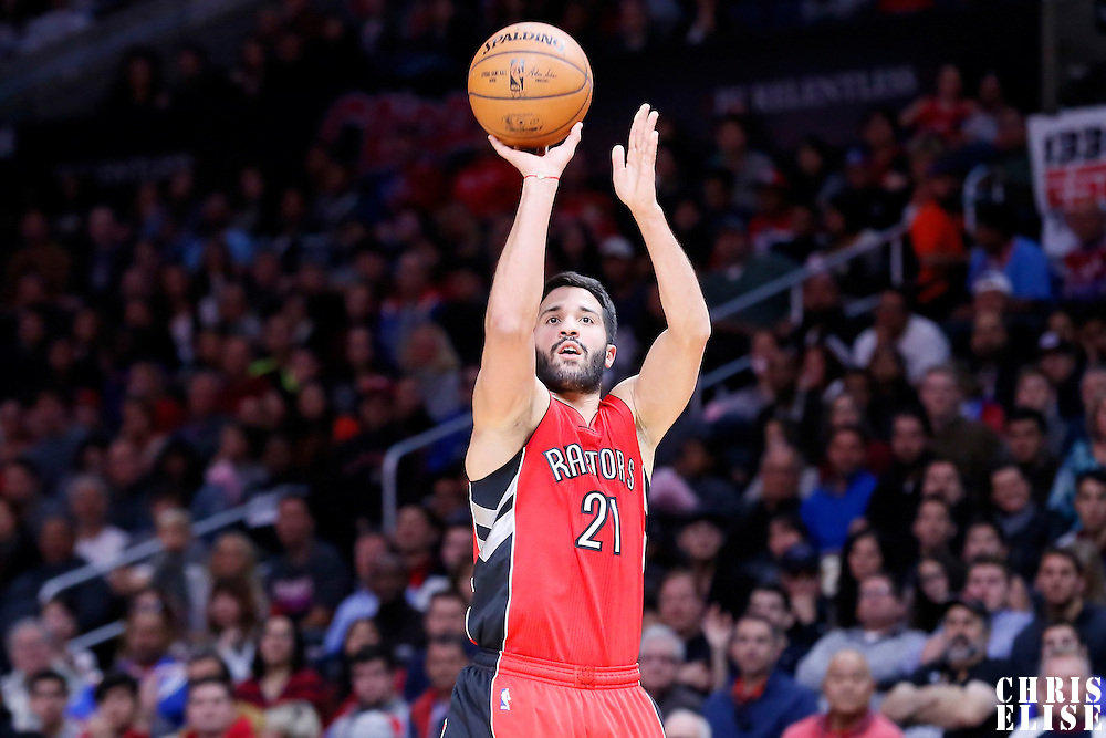 27 December 2014: Toronto Raptors guard Greivis Vasquez (21) takes a jump shot during the Toronto Raptors 110-98 victory over the Los Angeles Clippers, at the Staples Center, Los Angeles, California, USA.