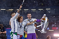 Gareth Bale of Real Madrid, Sergio Ramos of Real Madrid and Luka Modric of Real Madrid celebrate the winning of the Champions League during the UEFA Champions League Final match between Real Madrid and Juventus at the National Stadium of Wales, Cardiff, Wales on 3 June 2017. Photo by Giuseppe Maffia.<br /> <br /> Giuseppe Maffia/UK Sports Pics Ltd/Alterphotos