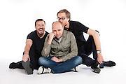 Ricky Gervais (Black v neck t), Karl Pilkington ( green shirt) and Stephen Merchant ( glasses)