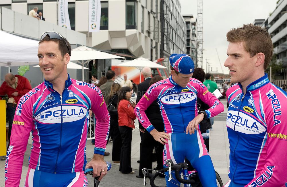 Ciaran Power (Ireland), Cameron Jennings (Australia) and Martyn Irvine  (Ireland), team Pezula, at the Tour of Ireland Stage 1, Grand Canal Square, Dublin 2