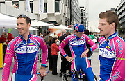 Ciaran Power (Ireland), Cameron Jennings (Australia) and Martyn Irvine  (Ireland), team Pezula, at the Tour of Ireland Stage 1, Grand Canal Square, Dublin 2