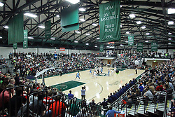 21 February 2015:  Shirk Center is packed and the new Dennie Bridges Court markings are on the floor during an NCAA men's division 3 CCIW basketball game between the Elmhurst Bluejays and the Illinois Wesleyan Titans in Shirk Center, Bloomington IL